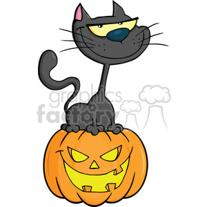 Royalty Free RF Clipart Illustration Halloween Cat On Pumpkin Cartoon Character clipart. Royalty-free image # 396267