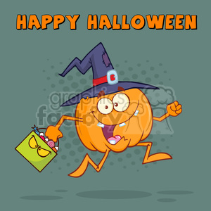 8899 Royalty Free RF Clipart Illustration Funny Witch Pumpkin Cartoon Character Running With A Halloween Candy Basket Vector Illustration Greeting Card