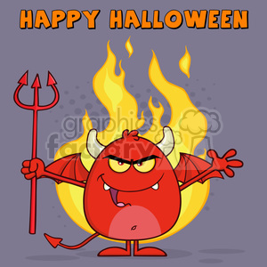 8966 Royalty Free RF Clipart Illustration Evil Red Devil Cartoon Character Character Holding A Pitchfork Over Flames Vector Illustration Greeting Card