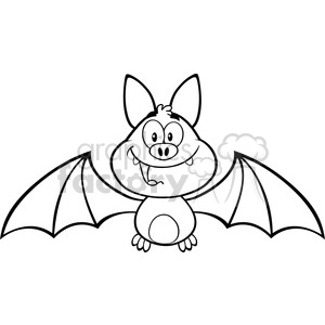 8942 Royalty Free RF Clipart Illustration Black And White Happy Vampire Bat Cartoon Character Flying Vector Illustration Isolated On White