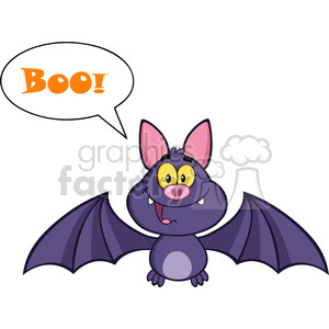 8945 Royalty Free RF Clipart Illustration Happy Vampire Bat Cartoon Character Flying With Speech Bubble And Text Vector Illustration Isolated On White
