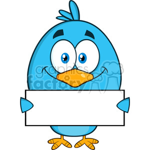8825 Royalty Free RF Clipart Illustration Smiling Blue Bird Cartoon Character Holding A Blank Sign Vector Illustration Isolated On White clipart. Royalty-free image # 396327