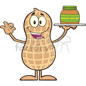 8632 Royalty Free RF Clipart Illustration Peanut Cartoon Character Holding A Jar Of Peanut Butter Vector Illustration Isolated On White clipart. Royalty-free image # 396343