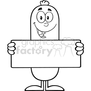8431 Royalty Free RF Clipart Illustration Black And White Sausage Cartoon Character Holding A Banner Vector Illustration Isolated On White clipart. Royalty-free image # 396361