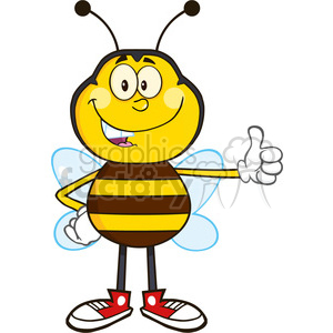 8382 Royalty Free RF Clipart Illustration Smiling Bee Cartoon Mascot Character Showing Thumb Up Vector Illustration Isolated On White clipart. Royalty-free image # 396421