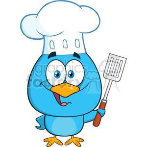 8819 Royalty Free RF Clipart Illustration Chef Blue Bird Cartoon Character Holding A Slotted Spatula Vector Illustration Isolated On White clipart. Commercial use image # 396433