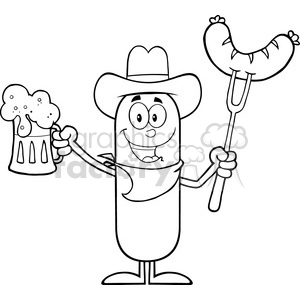 8441 Royalty Free RF Clipart Illustration Black And White Cowboy Sausage Cartoon Character Holding A Beer And Weenie On A Fork Vector Illustration Isolated On White clipart. Royalty-free image # 396443