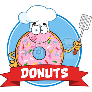 8672 Royalty Free RF Clipart Illustration Chef Donut Cartoon Character With Sprinkles Circle Label Vector Illustration Isolated On White clipart. Commercial use image # 396465