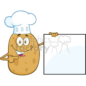 8792 royalty free rf clipart illustration chef potato character pointing to a blank sign vector illustration isolated on white