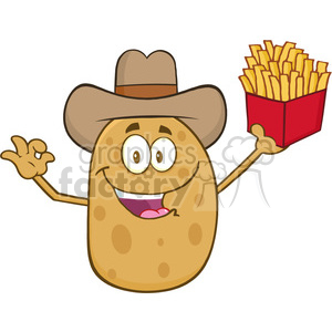 8798 Royalty Free RF Clipart Illustration Cowboy Potato Character Gesturing Ok And Holding A French Fries Vector Illustration Isolated On White clipart. Royalty-free image # 396481