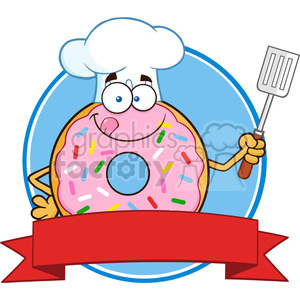 8671 Royalty Free RF Clipart Illustration Chef Donut Cartoon Character With Sprinkles Circle Label Vector Illustration Isolated On White clipart. Royalty-free image # 396501