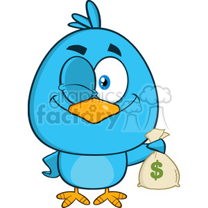 8833 Royalty Free RF Clipart Illustration Winking Blue Bird Cartoon Character Holding A Bag Of Money Vector Illustration Isolated On White clipart. Royalty-free image # 396515