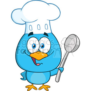 8820 Royalty Free RF Clipart Illustration Chef Blue Bird Cartoon Character Holding A Spoon Vector Illustration Isolated On White clipart. Royalty-free image # 396531