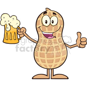 8634 Royalty Free RF Clipart Illustration Happy Peanut Cartoon Character Holding A Beer And Thumb Up Vector Illustration Isolated On White clipart. Commercial use image # 396555