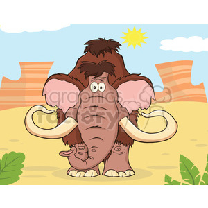 8752 Royalty Free RF Clipart Illustration Mammoth Cartoon Character Vector Illustration With Background clipart. Royalty-free image # 396569