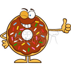 8695 Royalty Free RF Clipart Illustration Winking Chocolate Donut Cartoon Character With Sprinkles Giving A Thumb Up Vector Illustration Isolated On White clipart. Commercial use image # 396589