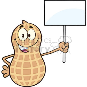 8741 Royalty Free RF Clipart Illustration Peanut Cartoon Mascot Character Holding Up A Blank Sign Vector Illustration Isolated On White clipart. Royalty-free image # 396619