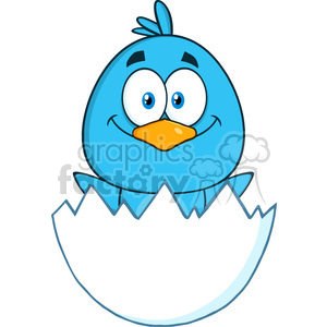 8809 Royalty Free RF Clipart Illustration Happy Blue Bird Cartoon Character Hatching From An Egg Vector Illustration Isolated On White clipart. Royalty-free image # 396633