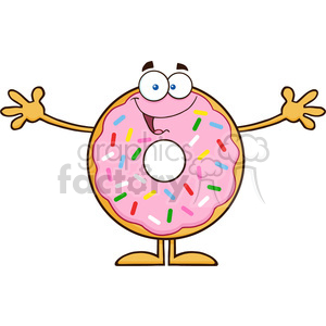 8677 Royalty Free RF Clipart Illustration Funny Donut Cartoon Character With Sprinkles Wanting A Hug Vector Illustration Isolated On White clipart. Royalty-free image # 396643
