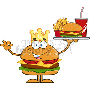 8566 Royalty Free RF Clipart Illustration King Hamburger Cartoon Character Holding A Platter With Burger, French Fries And A Soda Vector Illustration Isolated On White clipart. Commercial use image # 396647
