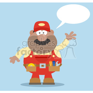 clipart - 8533 Royalty Free RF Clipart Illustration African American Mechanic Cartoon Character Waving For Greeting Flat Style Vector Illustration With Speech Bubble And Background.