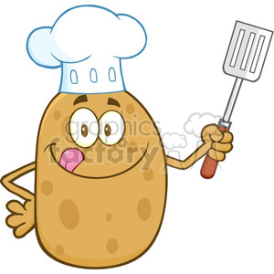 8791 Royalty Free RF Clipart Illustration Chef Potato Character Licking His Lips And Holding A Spatula Vector Illustration Isolated On White clipart. Commercial use image # 396687