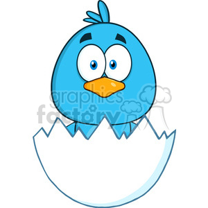 8807 Royalty Free RF Clipart Illustration Surprised Blue Bird Cartoon Character Hatching From An Egg Vector Illustration Isolated On White clipart. Royalty-free image # 396749