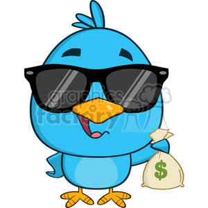 8845 Royalty Free RF Clipart Illustration Cute Blue Bird With Sunglasses Cartoon Character Holding A Bag Of Money Vector Illustration Isolated On White clipart. Commercial use image # 396761