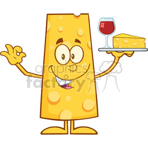 8506 Royalty Free RF Clipart Illustration Cheese Cartoon Character Holding Up A Wine Glass And Wedge Of Yellow Cheese Vector Illustration Isolated On White clipart. Commercial use image # 396763
