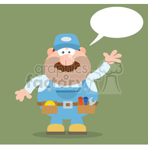8530 Royalty Free RF Clipart Illustration Mechanic Cartoon Character Waving For Greeting Flat Style Vector Illustration With Speech Bubble And Background clipart. Royalty-free image # 396855