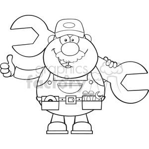 8543 Royalty Free RF Clipart Illustration Black And White Mechanic Cartoon Character Holding Huge Wrench And Giving A Thumb Up Vector Illustration Isolated On White
