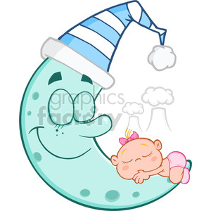 6998 Royalty Free RF Clipart Illustration Cute Baby Girl Sleeps On Blue Moon Cartoon Characters clipart. Commercial use image # 396877