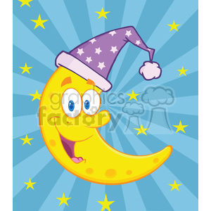 6973 Royalty Free RF Clipart Illustration Smiling Crescent Moon Over Blue Sky With Stars clipart. Commercial use image # 396887