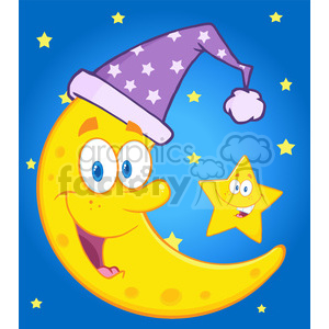 Royalty Free RF Clipart Illustration Smiling Crescent Moon With Sleeping Hat And Happy Litlle Star Cartoon Characters clipart. Commercial use image # 396897