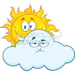Royalty Free RF Clipart Illustration Happy Sun Smiling Behind A Sad Cloud Cartoon Mascot Characters clipart. Royalty-free image # 396927