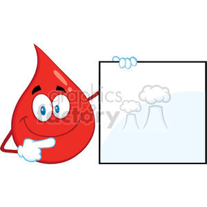 Royalty Free RF Clipart Illustration Red Blood Drop Cartoon Mascot Character Showing A Blank Sign clipart. Commercial use image # 396993
