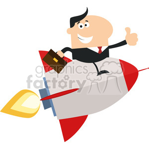 8337 Royalty Free RF Clipart Illustration Manager Flying On The Rocket And Giving Thumb Up Flat Style Vector Illustration clipart. Royalty-free image # 397003