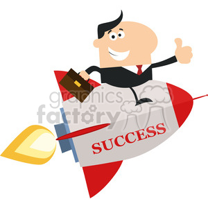 8338 Royalty Free RF Clipart Illustration Manager Flying On The Rocket And Giving Thumb Up Flat Style Vector Illustration With Text clipart. Commercial use image # 397013