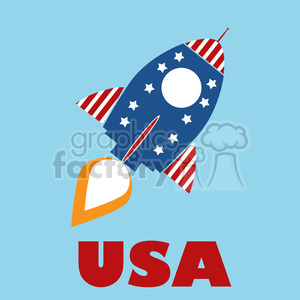 8316 Royalty Free RF Clipart Illustration Retro Rocket With USA Flag Concept Vector Illustration With Text clipart. Royalty-free image # 397023