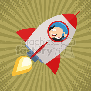 8330 Royalty Free RF Clipart Illustration Manager Launching A Rocket And Giving Thumb Up Flat Style Vector Illustration clipart. Royalty-free image # 397043