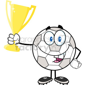 Royalty Free RF Clipart Illustration Happy Soccer Ball Cartoon Character Holding Golden Trophy Cup clipart. Royalty-free image # 397063