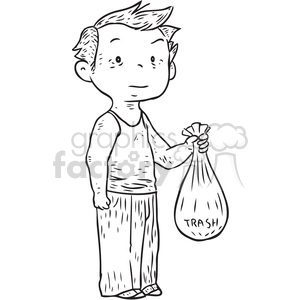boy carrying trash bag clipart. Royalty-free image # 397072