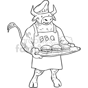 cartoon black+white animal bull cook mascot burgers summer BBQ