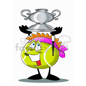 terry the tennis ball cartoon character holding a trophy clipart. Commercial use image # 397386