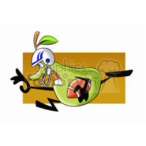 paul the cartoon pear character playing football clipart. Commercial use image # 397396