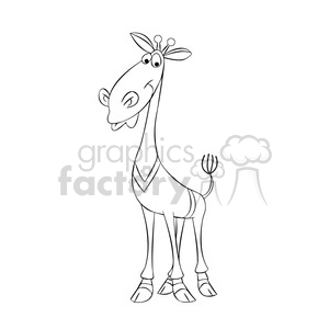 jeffery the cartoon giraffe character wearing a sweater black white clipart. Commercial use image # 397436