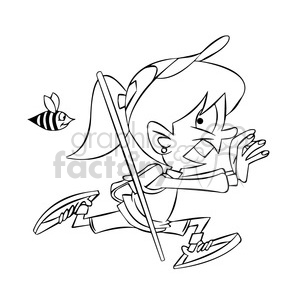 trina the cartoon girl character running from a bee black white clipart. Royalty-free image # 397456