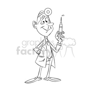 doug the cartoon doctor holding a hypodermic needle black white clipart. Commercial use image # 397486