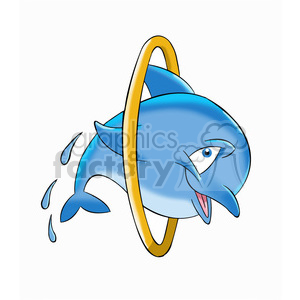 dallas the cartoon dolphin jumping through hoops clipart. Royalty-free image # 397536