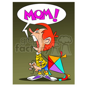 josh the cartoon character crying for mommy clipart. Commercial use image # 397606